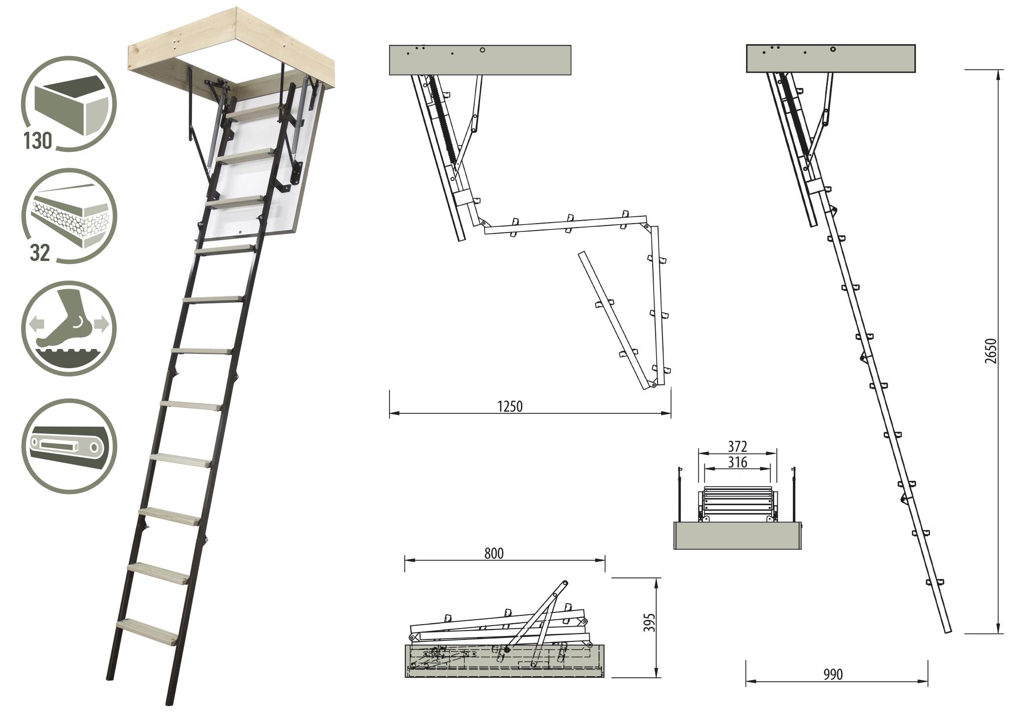 Schody strychowe STALLUX 32 mm MINI 80x55